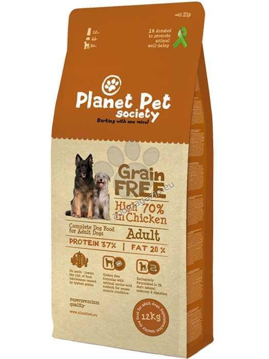 Planet Pet Society Grain Free chicken - пълноценна храна с пилешко месо, без добавени зърнени култури, подходяща за всички кучета над 12 месеца 12 кг.