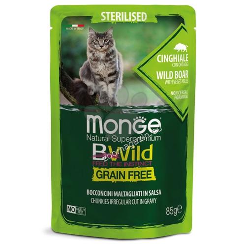 Monge BWILD Grain Free Sterilised с глиганско и зеленчуци – пауч с хапки в сос, без зърнени храни – за кастрирани котки в зряла възраст 85 гр.