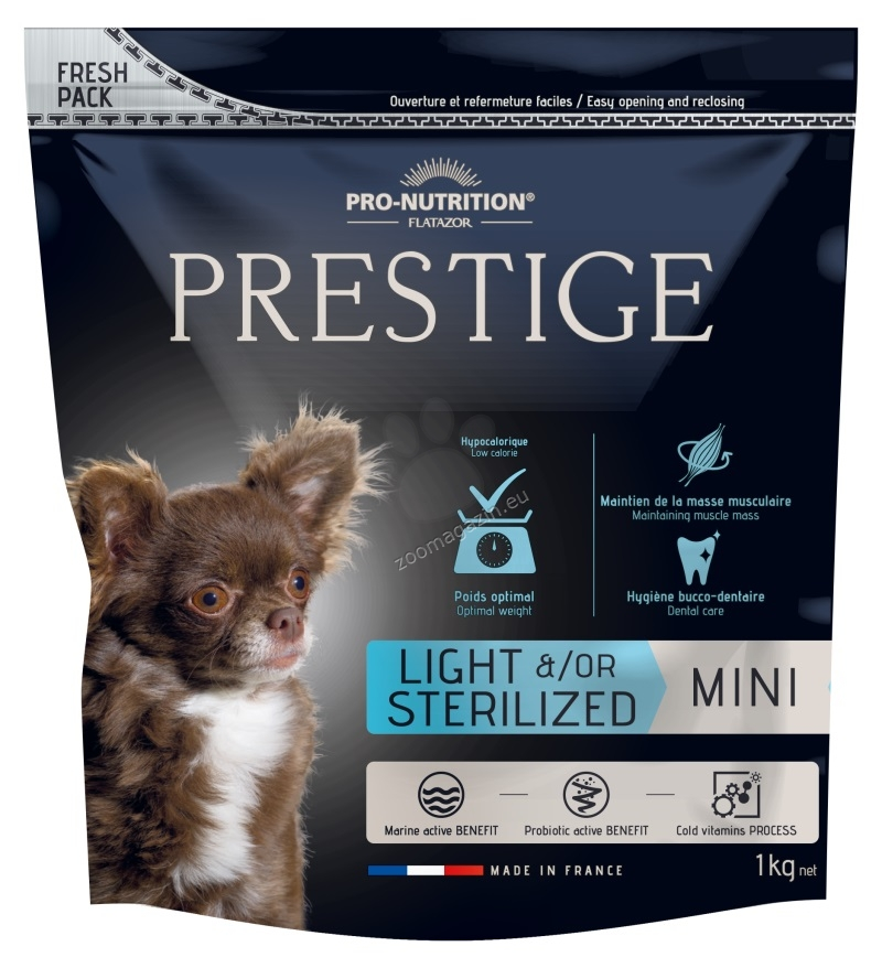 Flatazor Prestige Adult Mini Light / Sterilized - пълноценна храна за кучета малки породи със склонност към напълняване или кастрирани 1 кг.