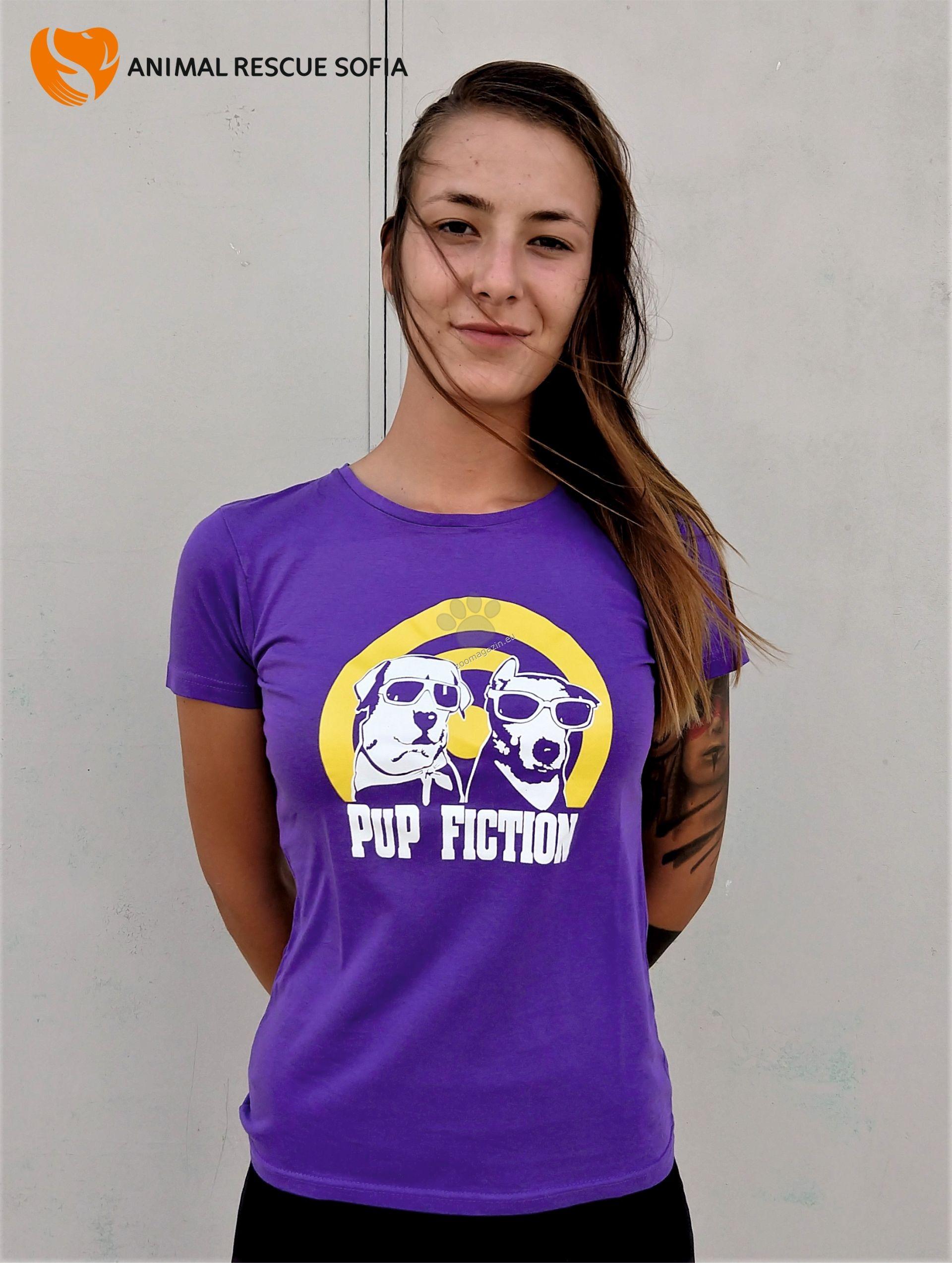 Animal Rescue Pup Fiction - дамска тениска с къс ръкав S, M, L, XL, XXL