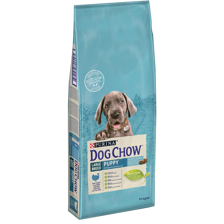 Dog Chow  Puppy Large Breed - пълноценна храна с пуешко месо, за кучета от 1 до 18 месеца, големи и гигантски породи 14 кг.