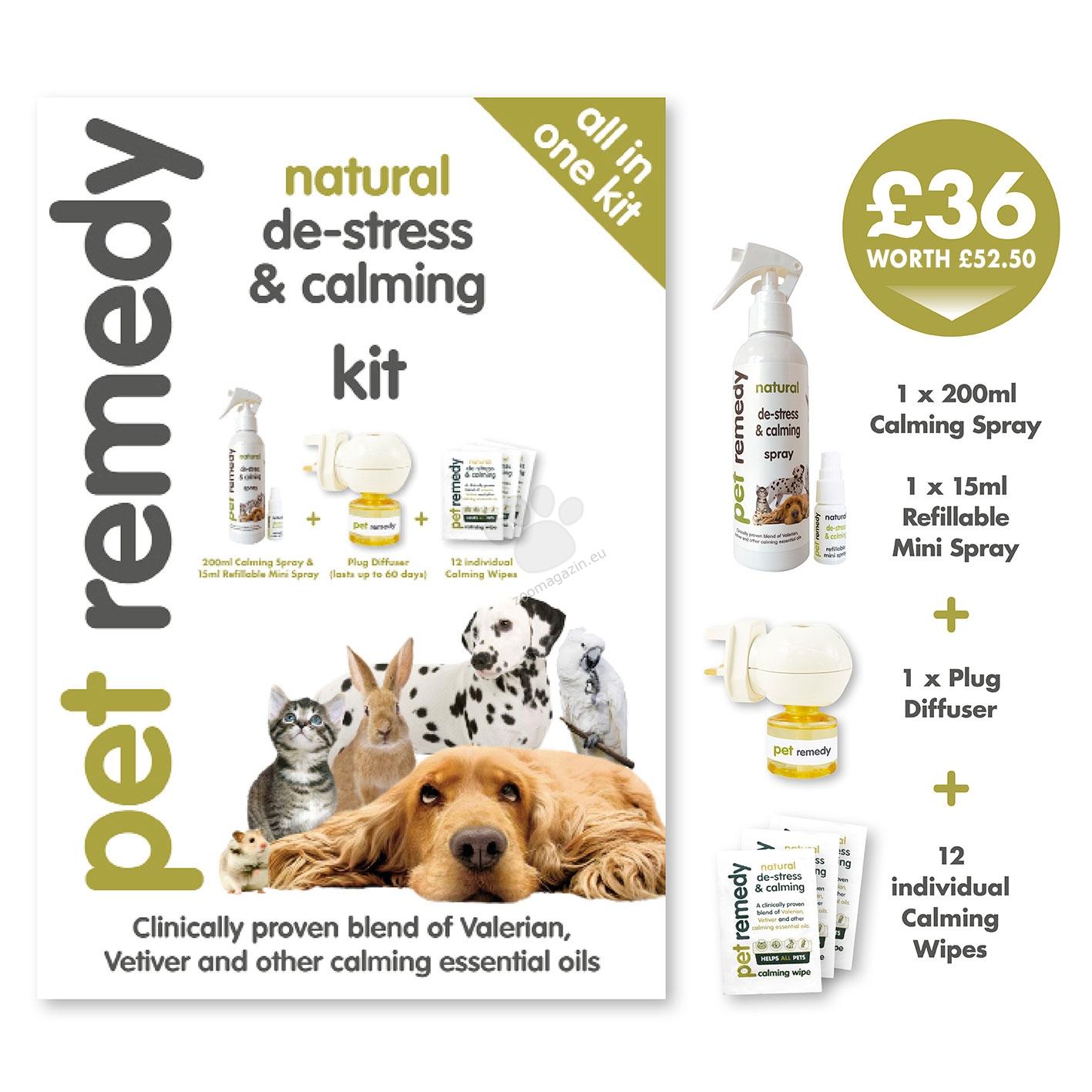 Pet Remedy All in One Kit - комплект 4 в 1 / 200 мл. успокояващ спрей, 15 мл. мини успокояващ спрей, дифузер с пълнител, 12 успокояващи кърпички /