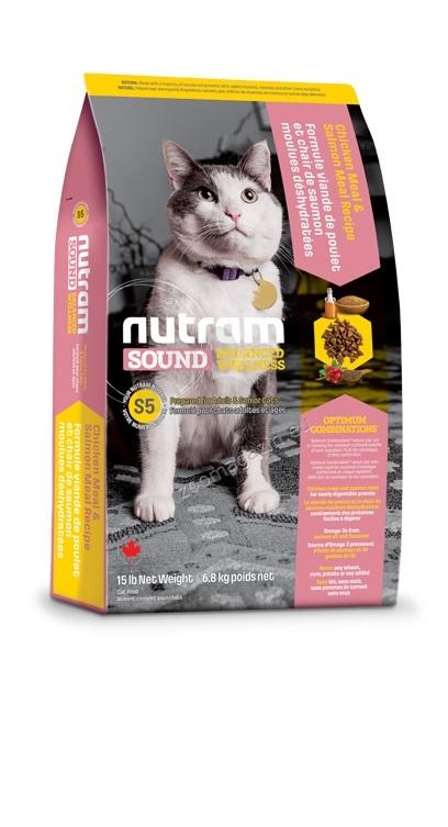 S5 Nutram Sound Balanced Wellness Adult & Senior - рецепта с пиле, сьомга и грах 6.8 кг.