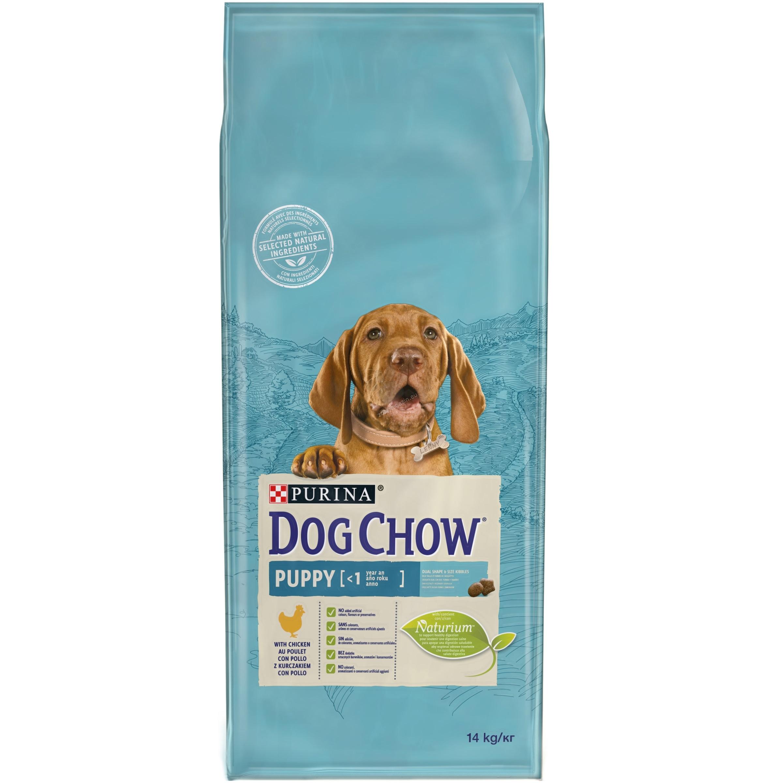 Dog Chow Puppy Medium - пълноценна храна с пилешко месо, за кучета от 1 до 12 месеца, средни породи 14 кг.