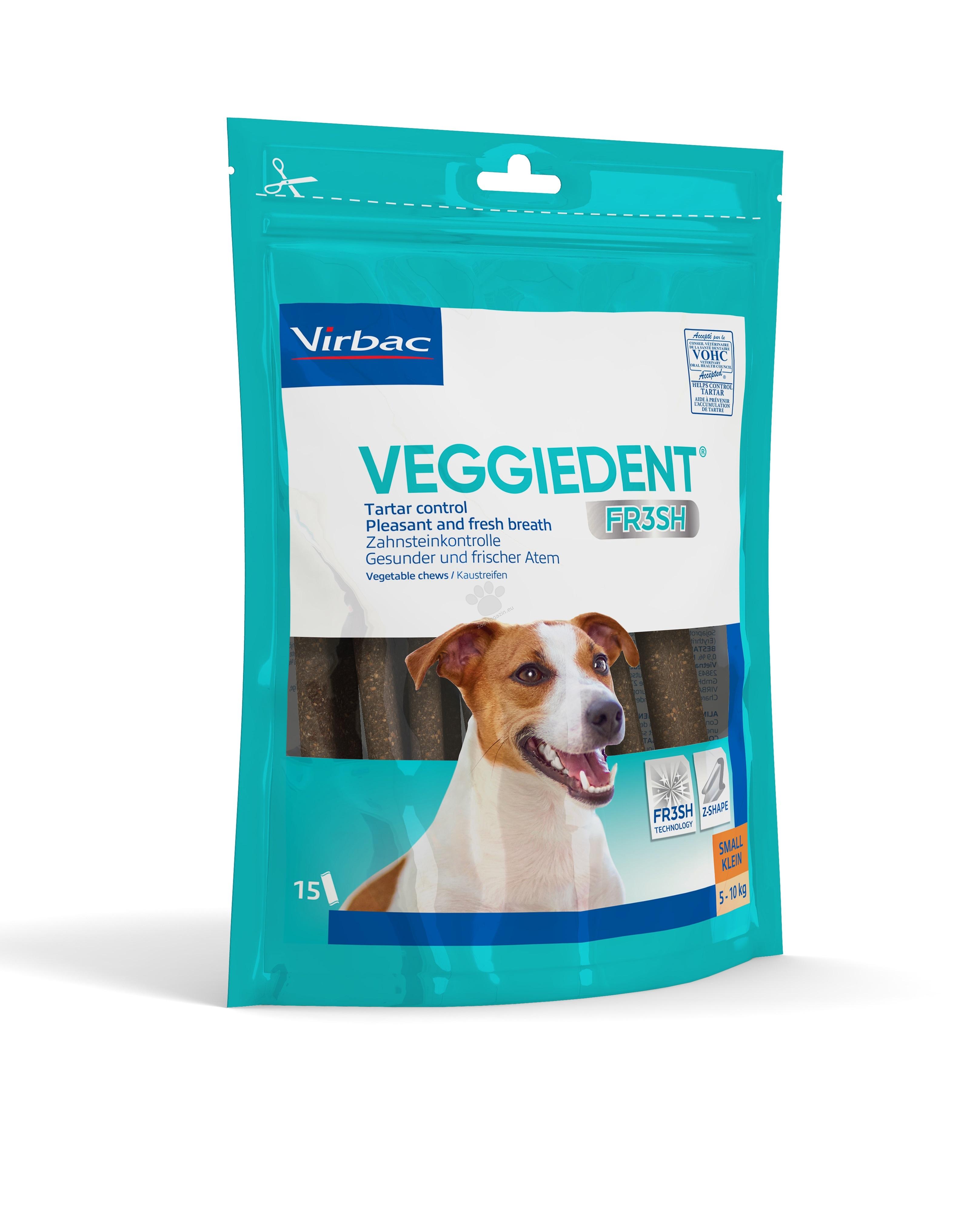 Virbac Veggiedent Fresh - дентални ламели, за кучета до 10 кг., 15 броя