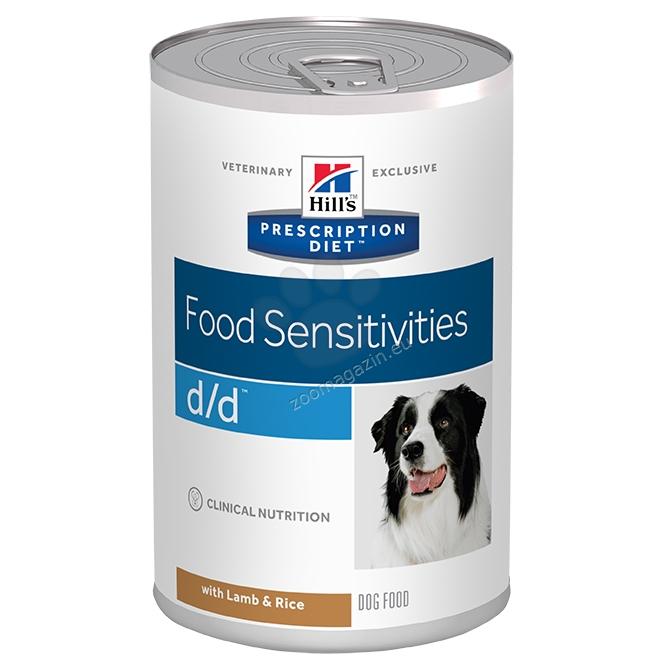 Hills Prescription Diet d/d Canine Lamb - диета подсилваща кожната бариера и съдържа един протеинов и един въглехидратен източник за кучета 370 гр.