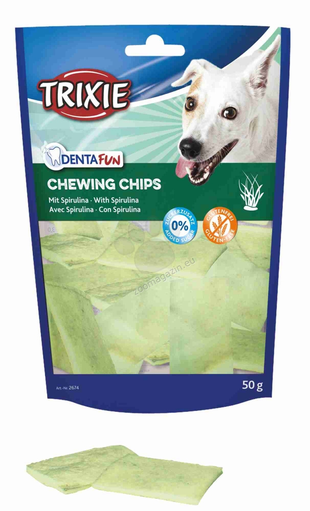 Trixie - Denta Fun Chewing Chips with Spirulina Algae - ленти спирулина за профилактика на устната хигиена / за малки породи / 50 грама