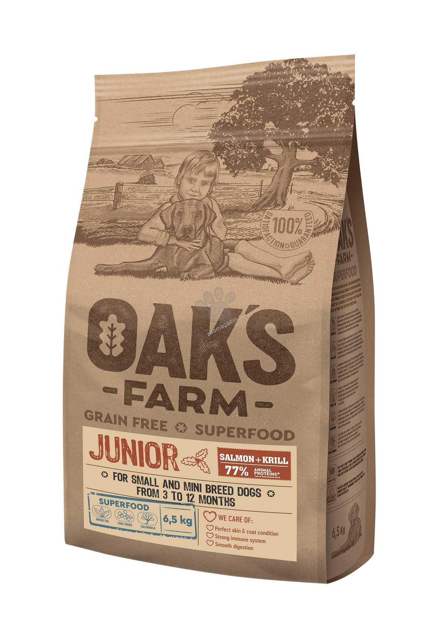 Oaks Farm Junior Salmon with Krill All Breeds - пълноценна храна със сьомга и крил, без зърнени култури за подрастващи кученца от всякакви породи от 3 до 12 месеца 18 кг.