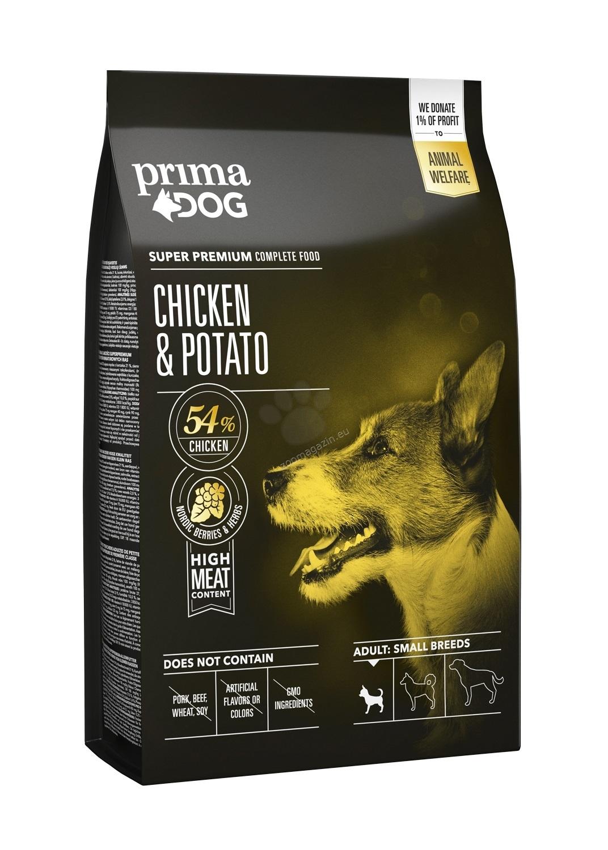 Prima Dog Adult Small Breeds Chicken & Potato - пълноценна храна с пилешко и картофи за малки кучета / 1-10 кг. /, над 12 месеца 1.5 кг.