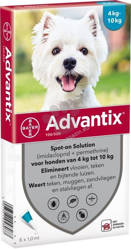 Bayer Advantix Spot On-за кучета от 4 до 10 кг. / кутия с четири броя пипети /