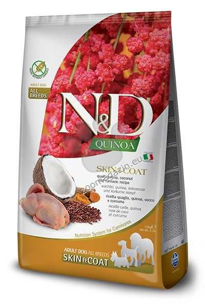 N&D Quinoa Skin & Coat Quail, Coconut – пълноценна храна с киноа за кучета в зряла възраст над 1г. за всички породи при чувствителен стомах, здрава кожа и козина с пъдпъдък, кокос и куркума 800 гр.