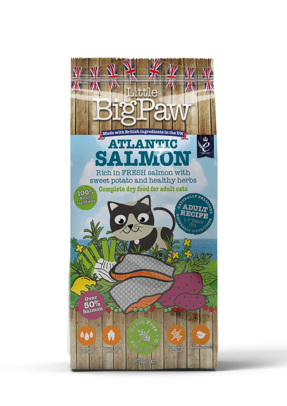 Little BigPaw Adult Salmon - пълноценна супер премиум храна с месо от сьомга, за котки от 1 до 7 годишна възраст 15 кг.