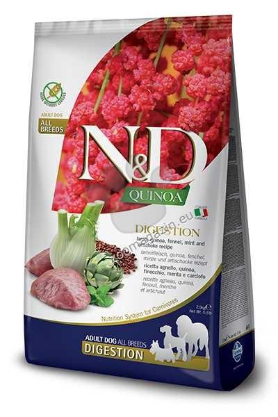 N&D Quinoa Digestion Lamb – пълноценна храна с киноа за кучета в зряла възраст над 1г. за всички породи, с високо смилаема формула за здравето на стомаха с агнешко, копър, мента и артишок 2.5 кг.