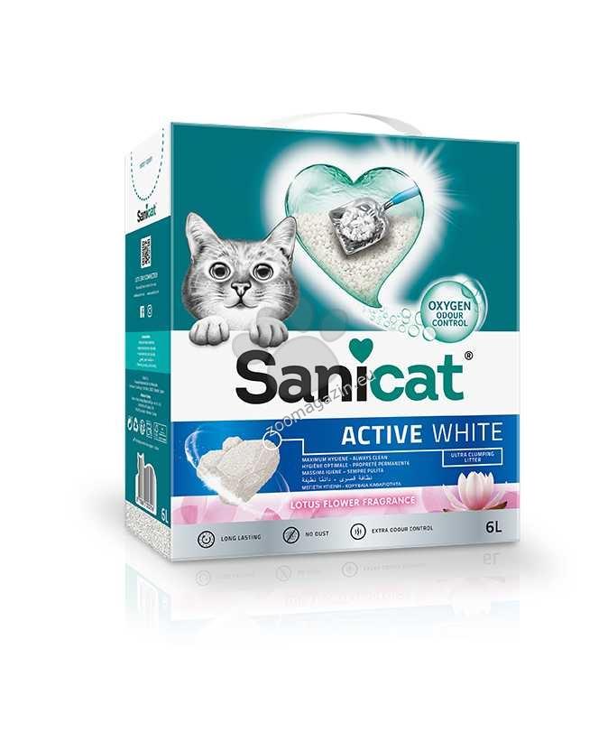 Sanicat Active White Lotus - котешка тоалетна висококачествен бял бентонит / аромат на цветя / 6 литра