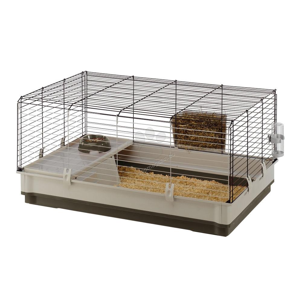 Ferplast - Krolik Large - клетка с пълно оборудване за мини зайчета / кафява, червена / 100 / 60 / 50 cm
