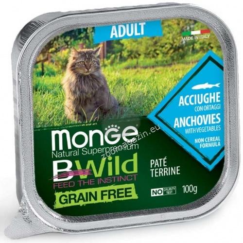 Monge BWILD Grain Free Adult с аншоа и зеленчуци – пастет терин без зърнени храни – за котки в зряла възраст 100 гр.