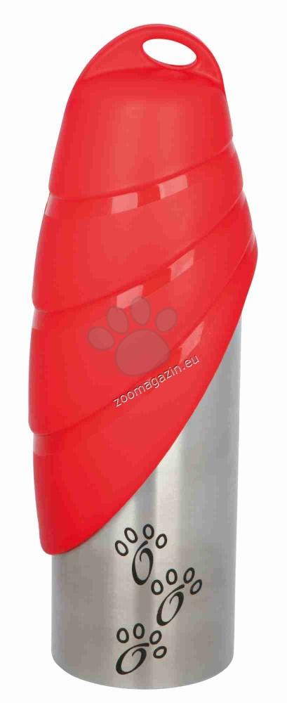 Trixie Bottle with Bowl - метална бутилка с купичка за вода 750 мл. / червена, черна /