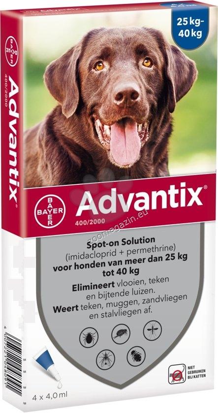 Bayer Advantix Spot On-за кучета от 25 до 40 кг. / кутия с четири броя пипети /