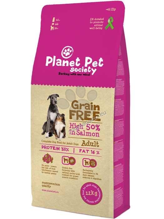 Planet Pet Society Grain Free salmon - пълноценна храна с месо от сьомга, без добавени зърнени култури, подходяща за всички кучета над 12 месеца 12 кг.