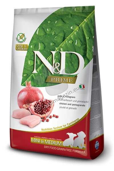 N&D Grain Free Mini Puppy - пълноценна храна с пилешко месо и нар, за кучета от дребни и средни породи до 12 месеца 7 кг.