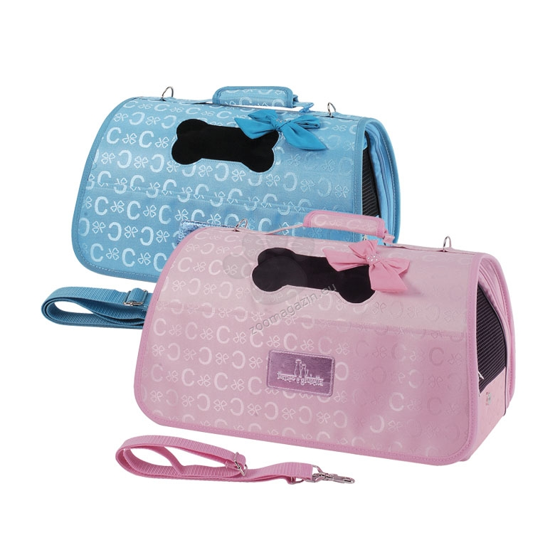 Camon Pet bag with bow - мека луксозна транспортна чанта 50 / 27 / 26 см.  / светло синя, розова /