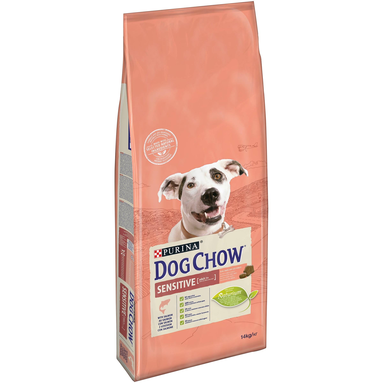 Dog Chow Аdult Sensitive - пълноценна храна със сьомга, за кучета с чувствителен стомах и кожа над 12 месеца 14 кг.
