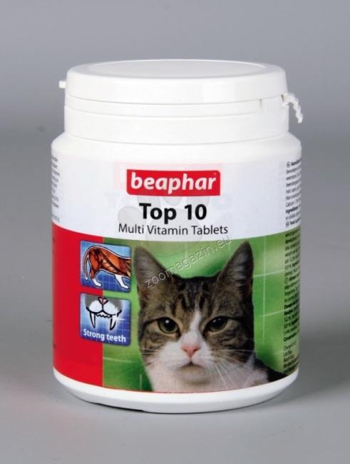 Beaphar TOP 10 Multi Vitamin for CATS Tablets - витамини, таурин, минерали и микроелементи 180 броя