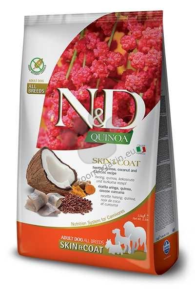 N&D Quinoa Skin & Coat Herring, Coconut – пълноценна храна с киноа за кучета в зряла възраст над 1г. за всички породи при чувствителен стомах, здрава кожа и козина с херинга, кокос и куркума 2.5 кг.