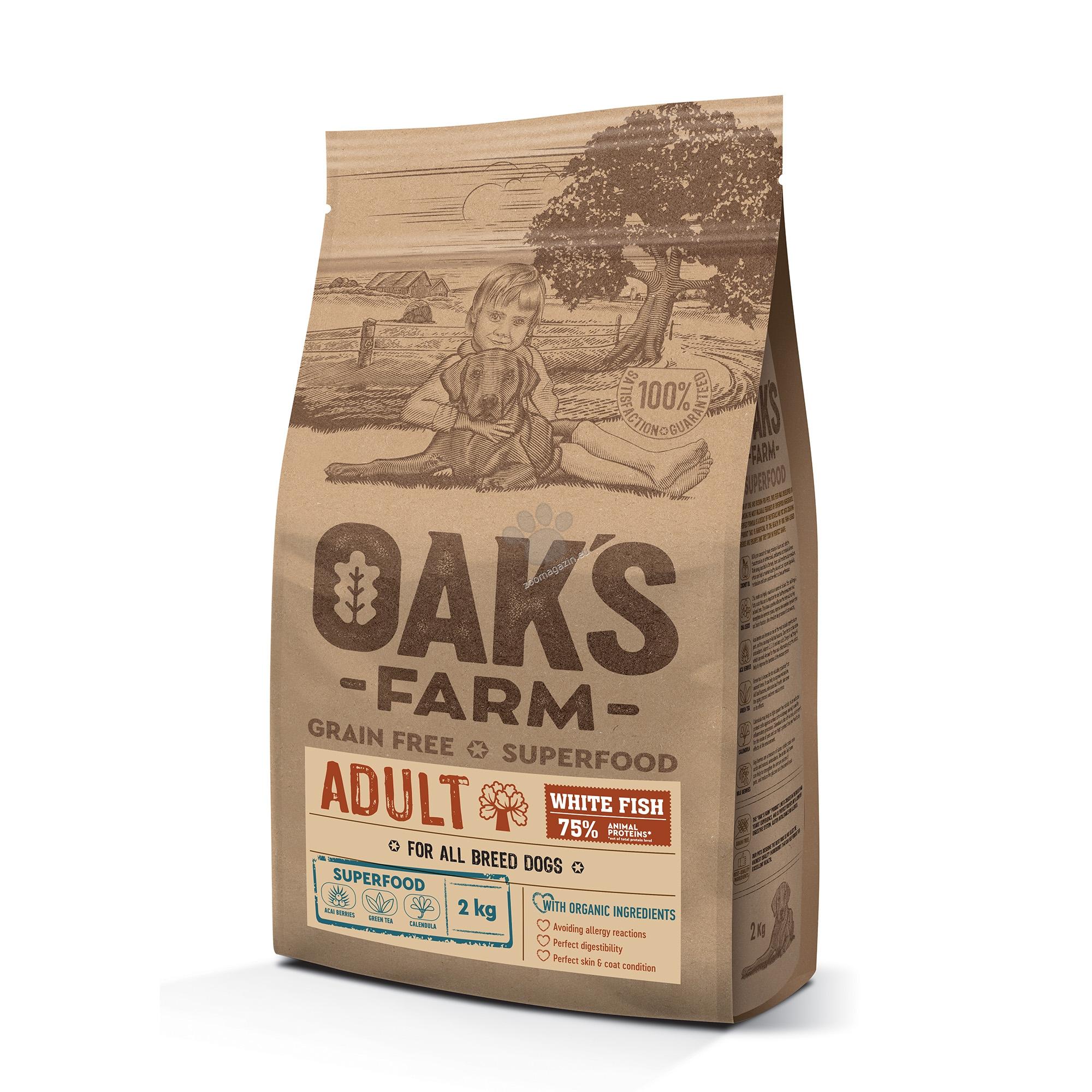 Oaks Farm Adult White Fish All Breeds - пълноценна храна с бяла риба, без зърнени култури за пораснали кучета от всякакви породи 18 кг.