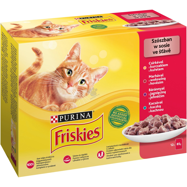 Purina Friskies Multipack Meat - с различни видове месо / говеждо, пиле, патица, агнешко /, хапки в сос 12 х 85 гр.
