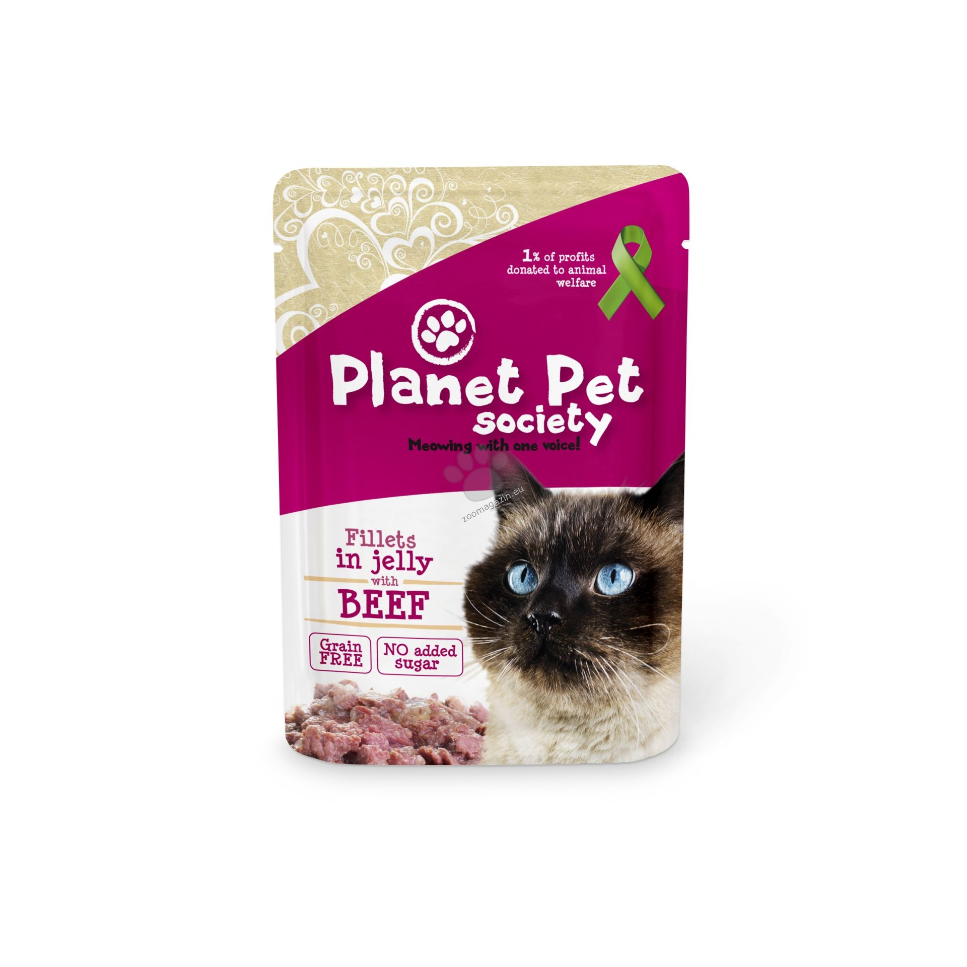 Planet pet cat beef in jelly - с говеждо месо в желе 85 гр.
