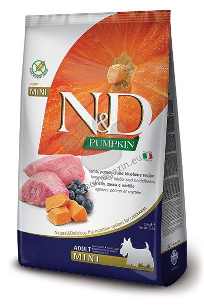 N&D Pumpkin Lamb & Blueberry Mini Adult - пълноценна храна с тиква за кучета в зряла възраст една година, от дребните породи с агне и боровинки 7 кг.