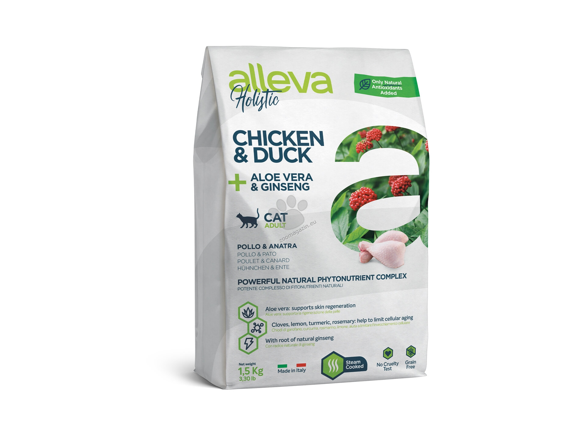 Alleva Holistic Adult Cat Chicken & Duck, Aloe vera, Ginseng - с пилешко и патешко месо, за котки над 12 месеца 1.5 кг.