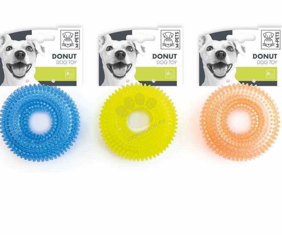 M-Pets Donut - кучешка играчка 9 см. / синя, жълта, оранжева /