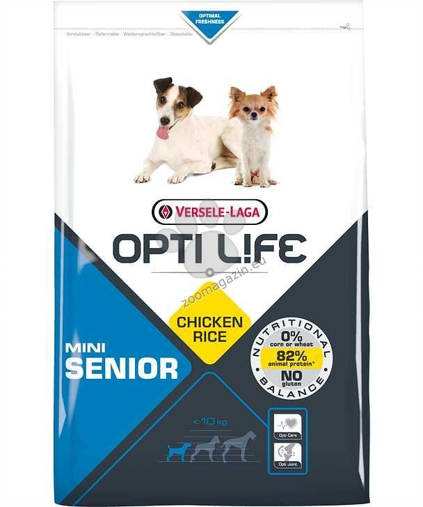 Opti Life Senior Mini - Балансирана храна с пиле за малки породи над 7 години 7.5 кг.