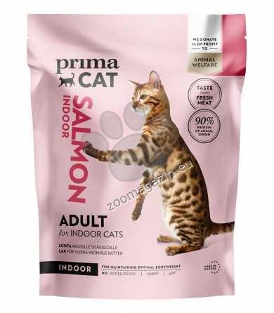 Prima Cat Salmon for adult indoor cats - пълноценна храна със сьомга, за котки живеещи в затворени помещения 400 гр.