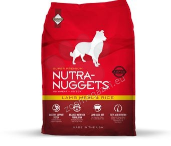 Nutra Nuggets Lamb Meal & Rice Formula - с агнешко месо и ориз, за кучета над 1 година 15 кг. + 3 кг. ГРАТИС