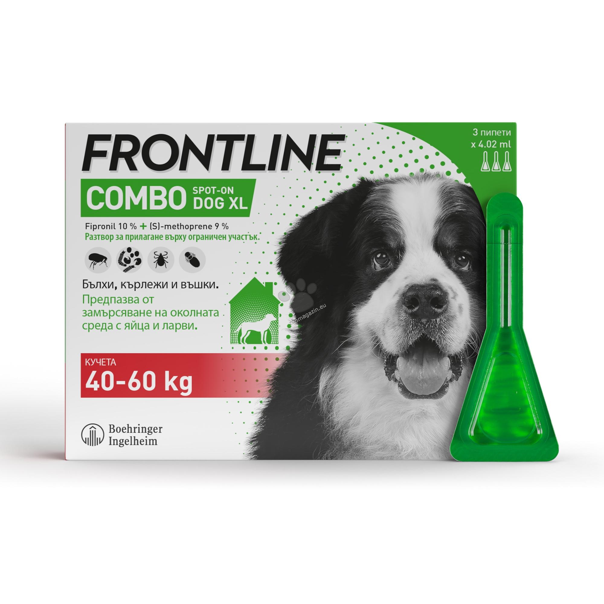 Frontline Combo spot on XL - противопаразитни пипети за кучета от 40 до 60 кг. / кутия с 3 броя /