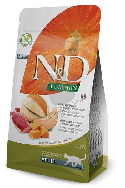 N&D Pumpkin Duck & Cantalupe Adult – пълноценна храна с тиква за котки над една година, с патица и пъпеш 1.5 кг. + ПОДАРЪК: 3 броя консерва N&D Cat
