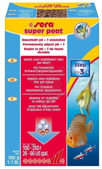Sera - Super Peat - създава леко кисела среда в аквариума, особена подходяща за някои риби като дискуси, барбуси, сомчета и др 500 гр.