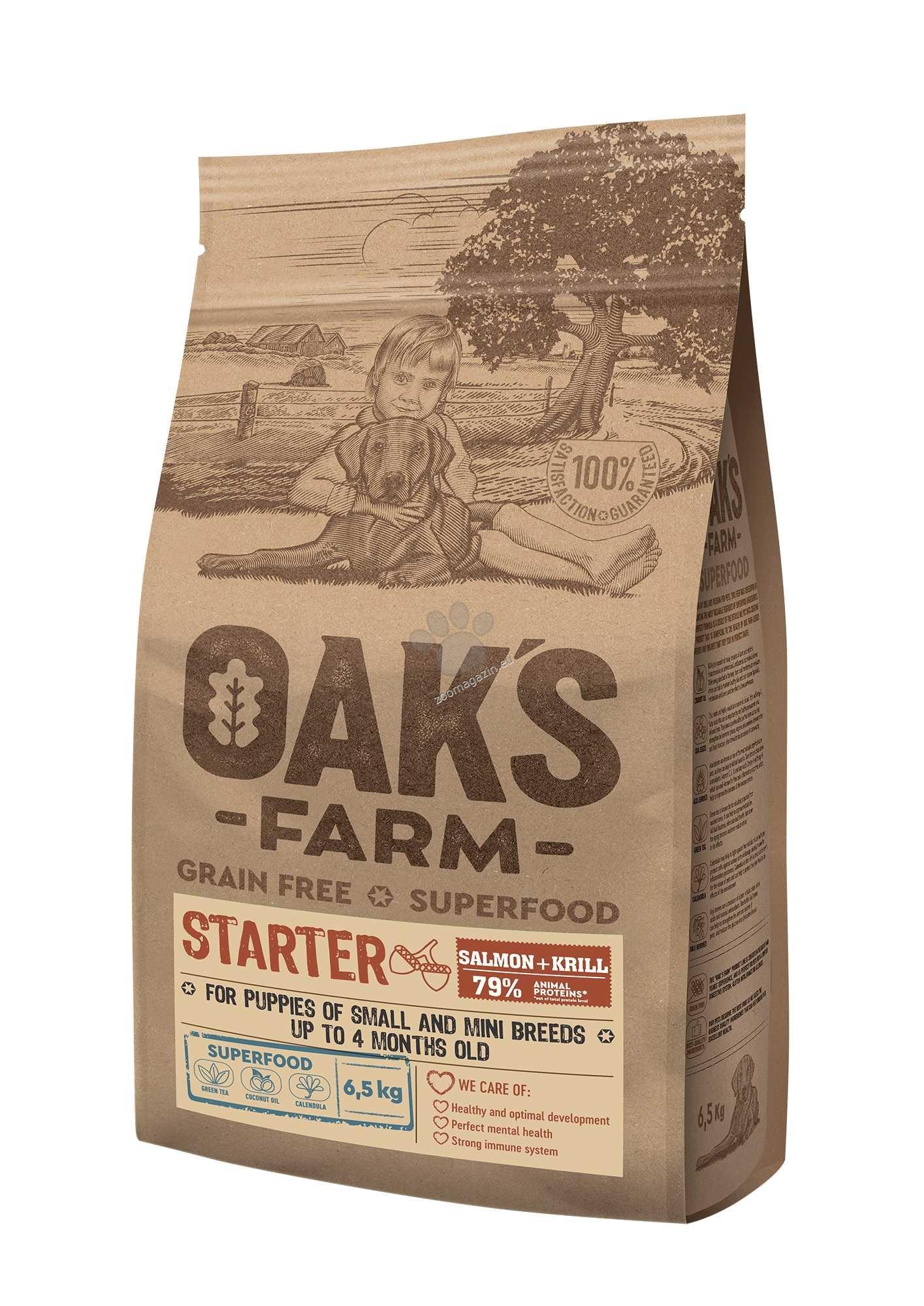 Oaks Farm Starter Salmon Small-Mini Breeds - пълноценна стартер храна със сьомга и крил, без зърнени култури за кученца от малки и мини породи от отбиване до 4 месечна възраст 18 кг.