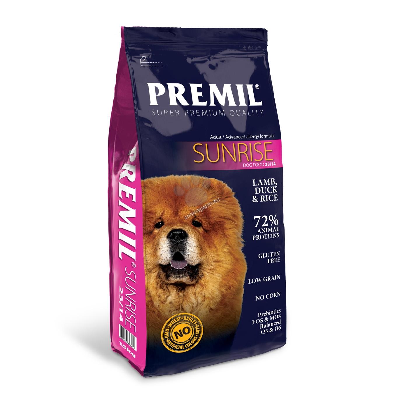 Premil - Sunrise 23/14 - пълноценна храна с агнешко месо и ориз, за кучета склонни към храносмилателни и кожни алергии 15 кг.