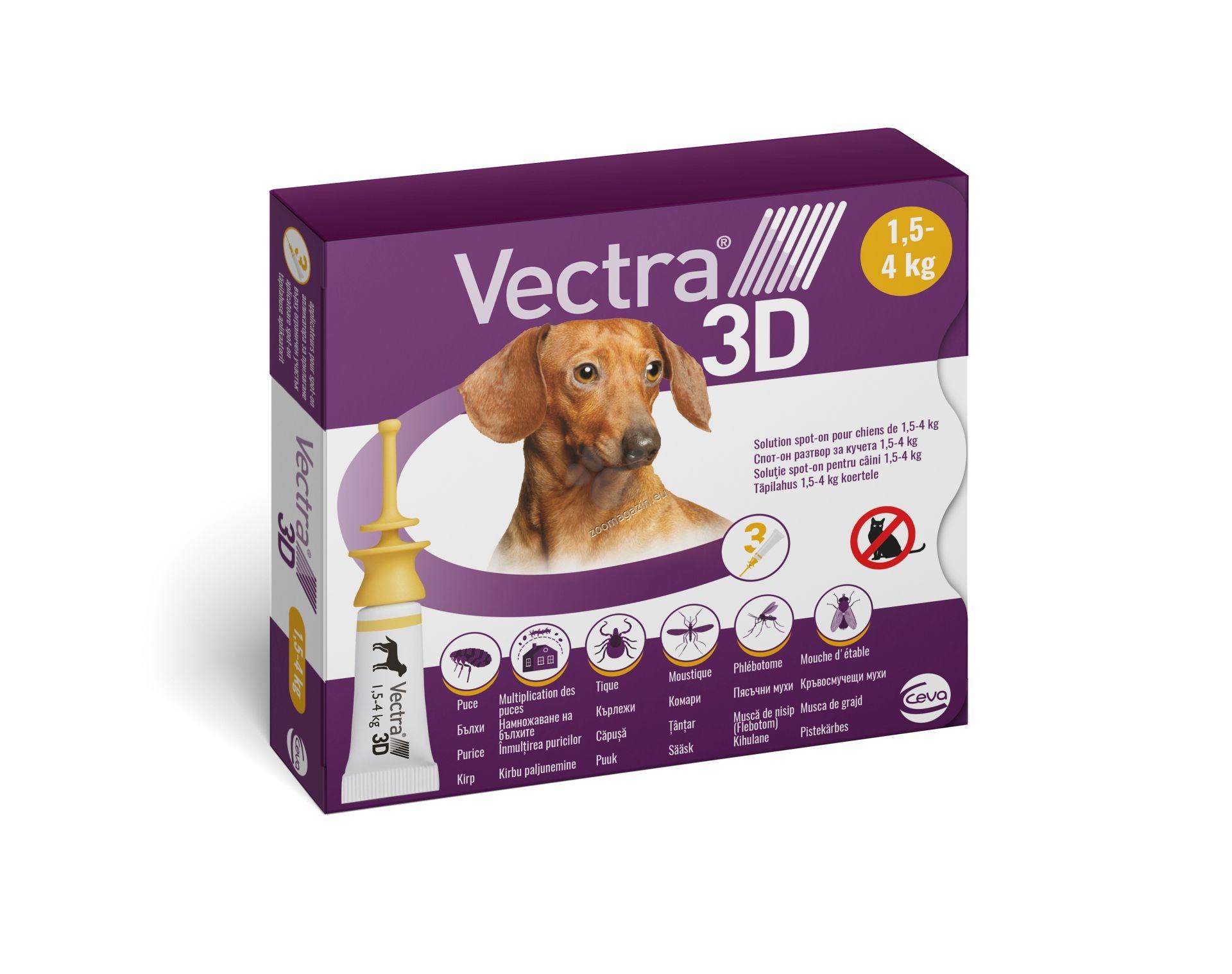 Ceva Vectra 3d - спот он форма против бълхи, кърлежи, мухи, комари, за кучета с тегло 1.5 - 4 кг. / 3 броя пипети /