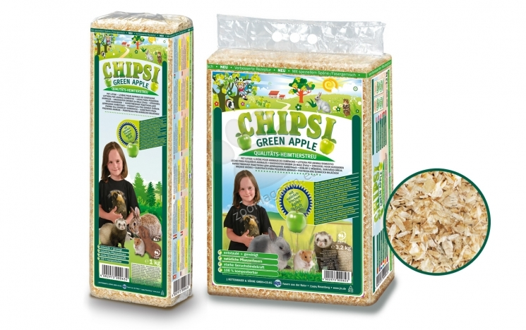 JRS Chipsi Green Apple - обезпаразитен и обезпрашен талаш с аромат на зелена ябълка, 15 литра