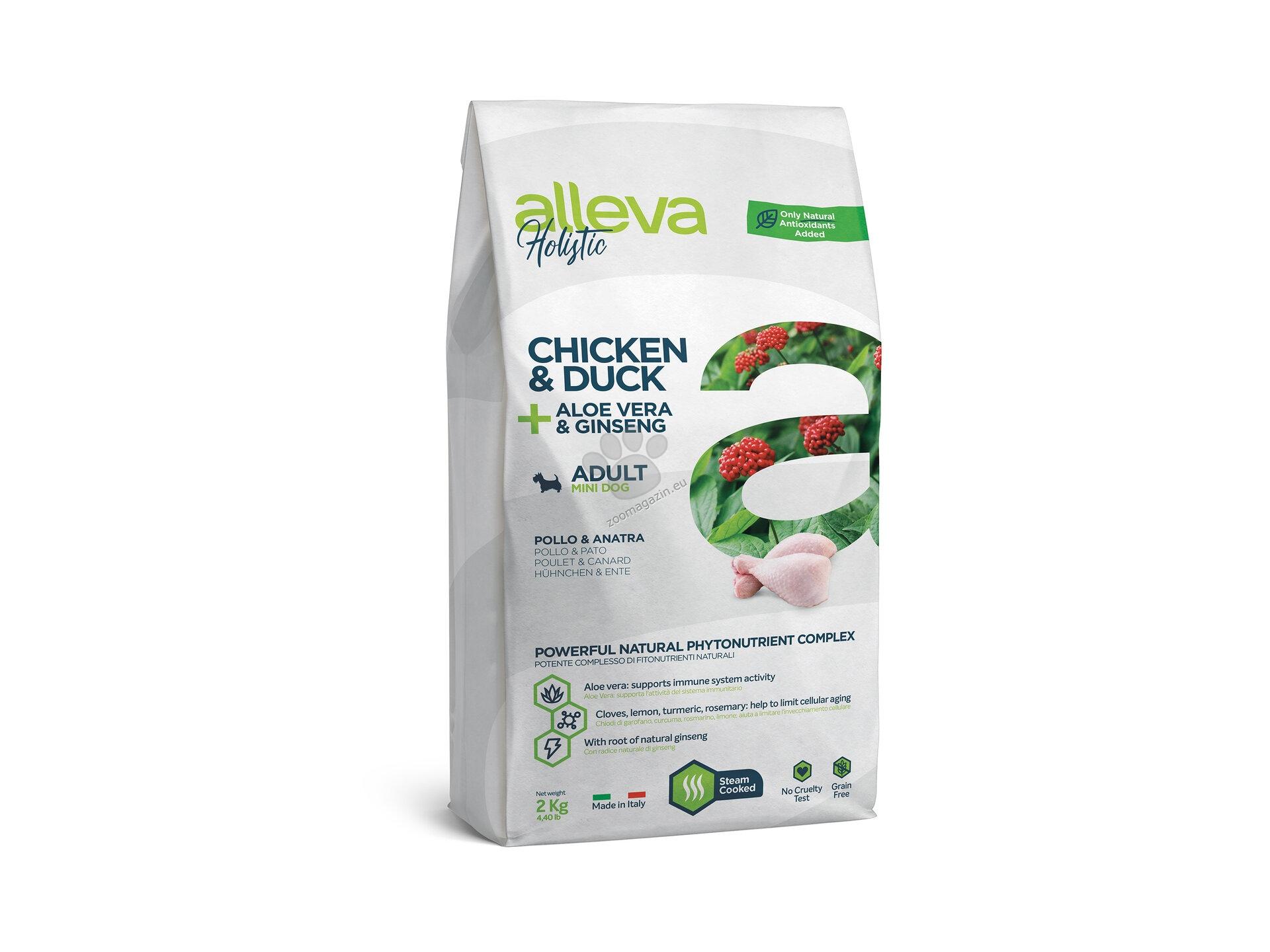 Alleva Holistic Adult Mini Chicken & Duck, Aloe Vera, Ginseng - с пилешко и пуешко месо, за кучета малки породи / до 10 кг. / и възраст над 10 месеца 2 кг.