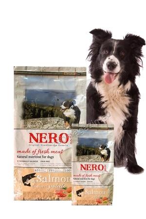 Nero Pure Adult with Fresh Salmon (grain free) - храна за кучета със 65 % месо от сьомга, 35 % плодове и зеленчуци, без зърнени съсътавки и без глутен 12 кг.