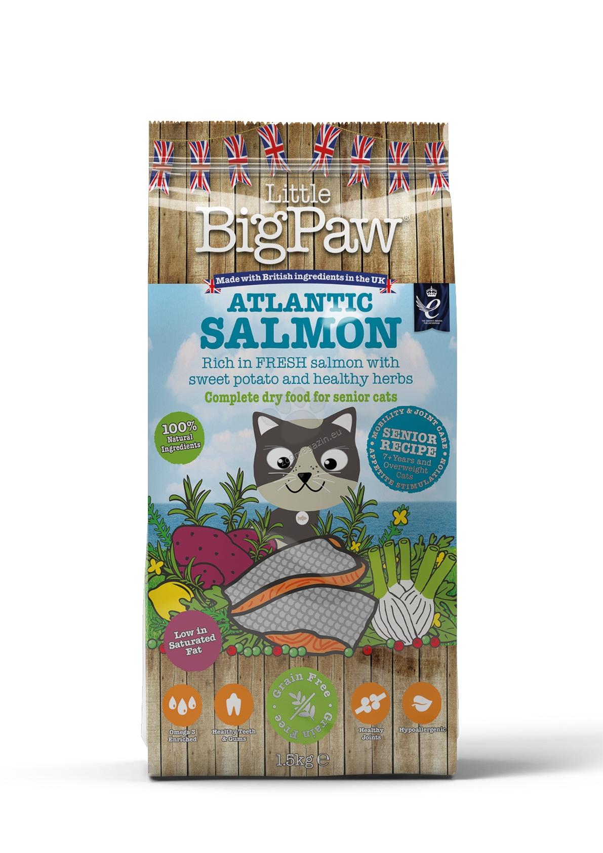 Little BigPaw Senior Salmon - пълноценна супер премиум храна с месо от сьомга, за котки над 7 годишна възраст или с наднормено тегло 15 кг.