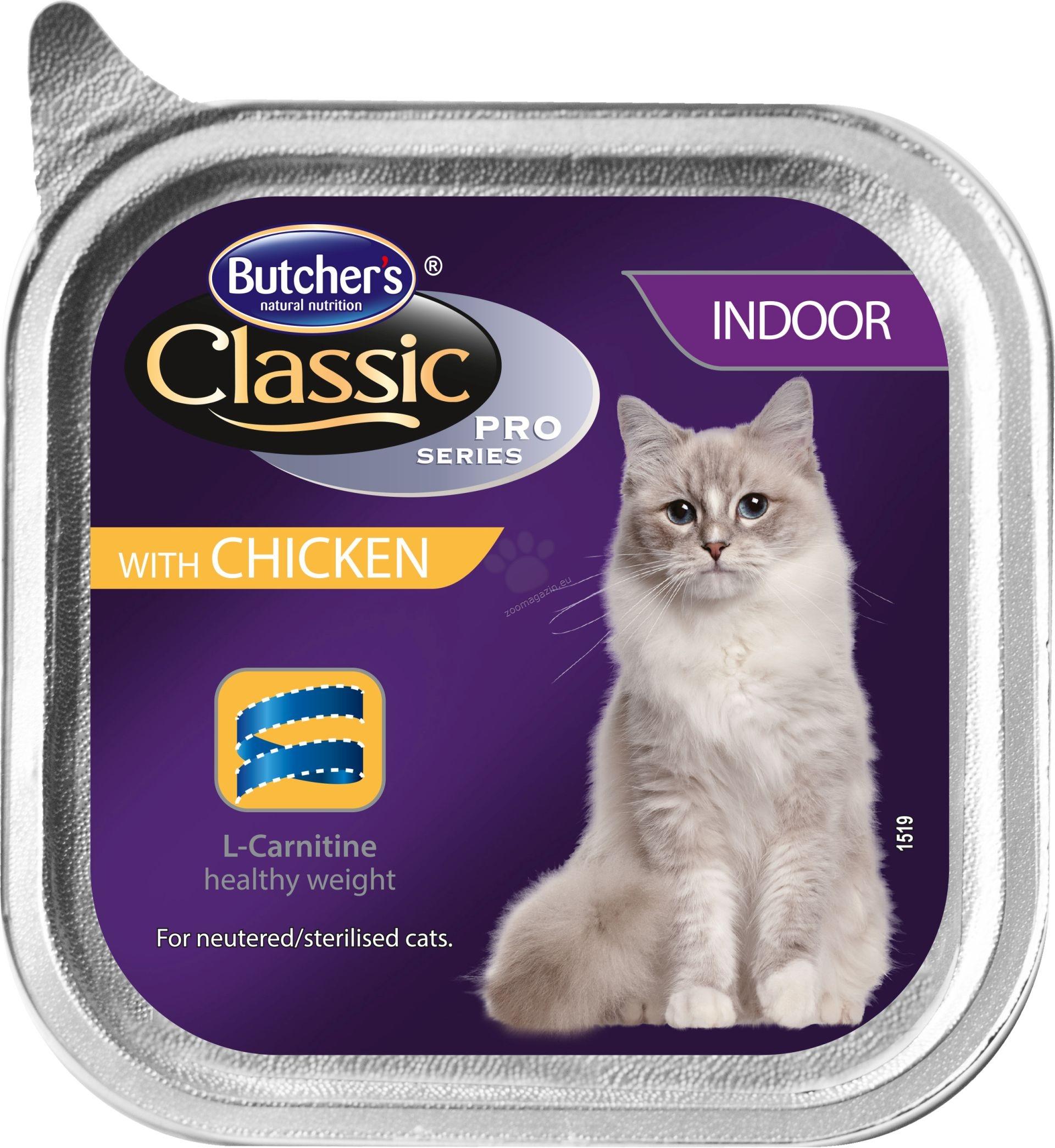 Butchers - Classic Pro Series Indoor with chicken pate - храна за котки, отглеждани на закрито, с пилешко месо, 100 гр. /пастет/