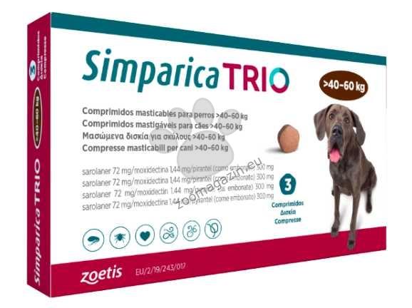 Simparica Trio - таблетка за дъвчене, за кучета с тегло от 40.1 до 60 кг. / кутия 3 броя /