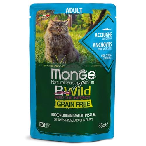 Monge BWILD Grain Free Adult с аншоа и зеленчуци – пауч с хапки в сос, без зърнени храни – за котки в зряла възраст 85 гр.